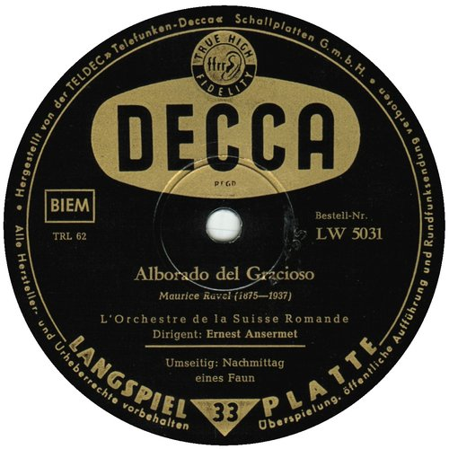 Étiquette verso du disque LW 5031, édition allemande, Maurice Ravel, Alborada, OSR, E. Ansermet, 1951