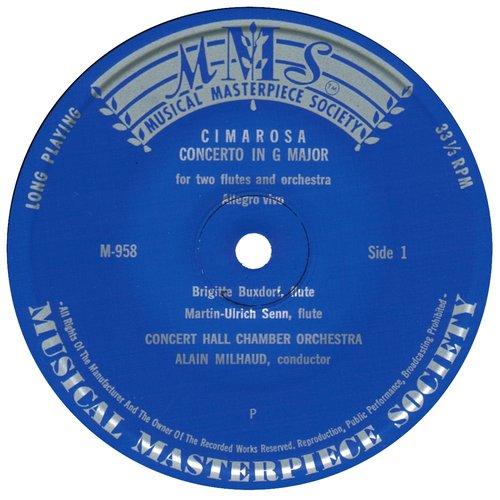 D.CIMAROSA, Concerto pour 2 flûtes, B.BUXTORF et M.U.SENN, Orchestre de chambre Concert Hall, A.MILHAUD, étiquette recto du disque MMS-958