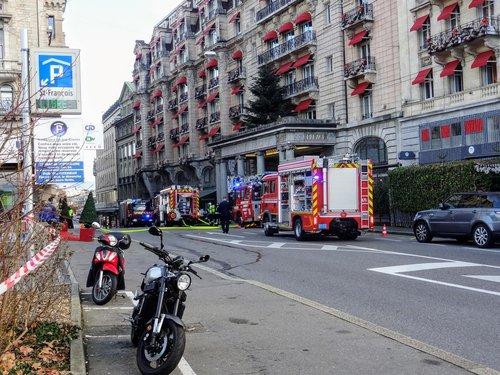 Incendie au Lausanne Palace