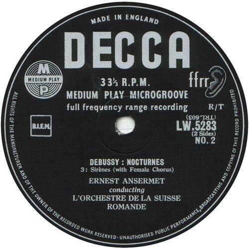 Cl. Debussy, Nocturnes, OSR, Ernest ANSERMET, disque LW 5283, étiquette verso