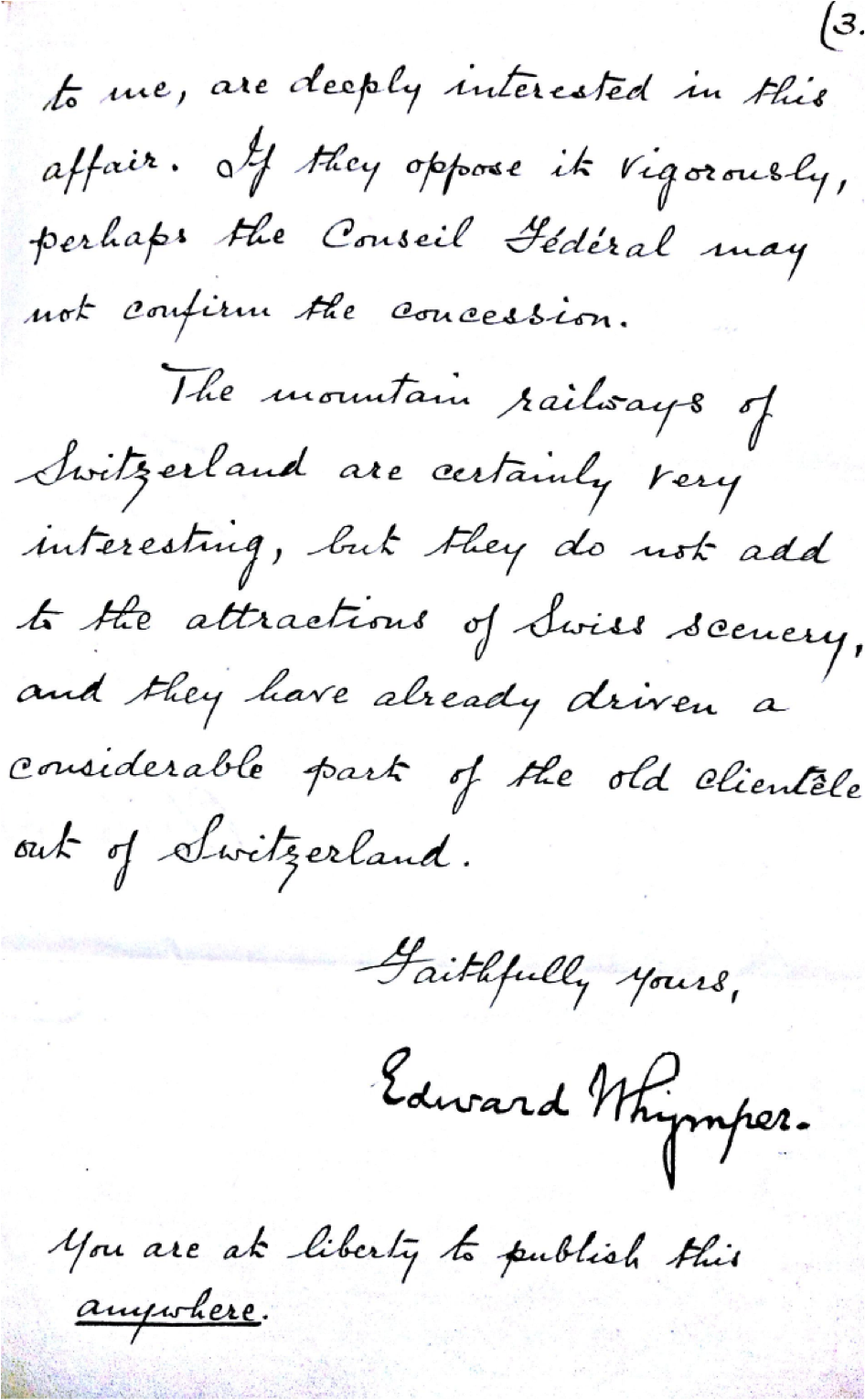 Letter d'Edward Whymper à Charles Gos - page 3