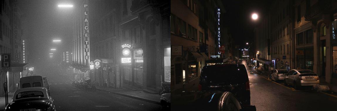 La rue Rousseau la nuit en 1979 et en 2018