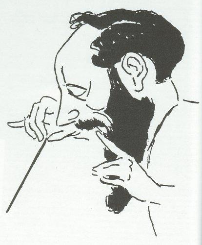 Ernest ANSERMET croqué par PETROVIC (visage de profil)