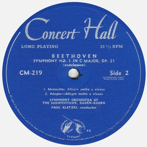 L. van BEETHOVEN, Symphonie No 1, GOSWF, Paul KLETZKI, étiquette verso du disque