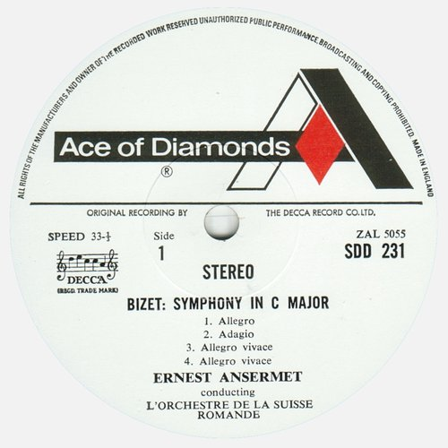Georges BIZET, Symphonie en ut, OSR, Ernest ANSERMET, 1960, STÉRÉO, étiquette recto du disque SDD 231