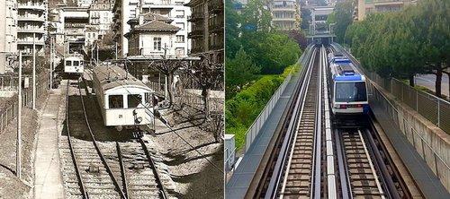 Le métro lausannois: Hier/aujourd'hui