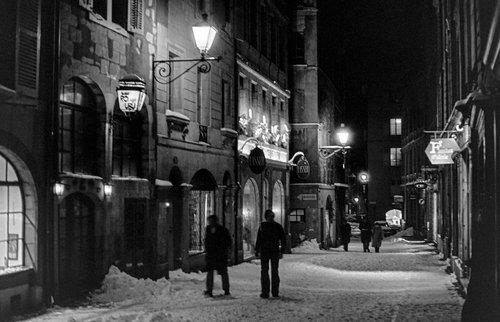 Genève, la Grand-Rue sous la neige
