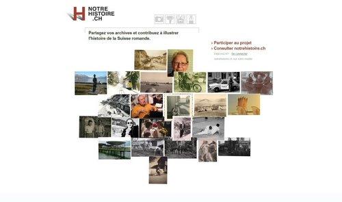 Notre Histoire ancien site Internet, page d'Accueil