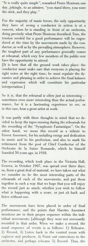 Hector Berlioz, Ernest Ansermet, Ouv. Corsaire, Symphonie Fantastique, partie 1 rabat intérieur pochette album Decca LONDON CSA 2101