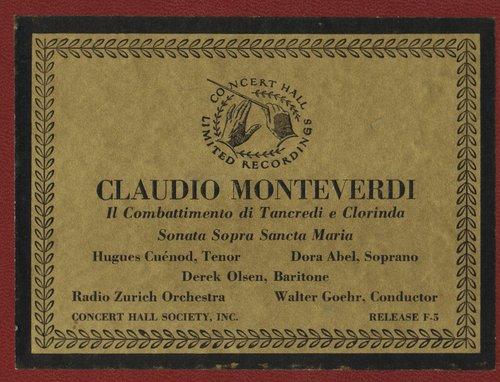 Claudio MONTEVERDI, Sonata Sopra Sancta Maria, Choeur Bach de Zurich, Orchestre Symphonique de Winterthur, Walter GOEHR, CHS F-5