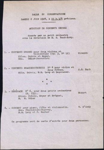Samuel BAUD-BOVY, 2 juin 1928, Conservatoire de Genève