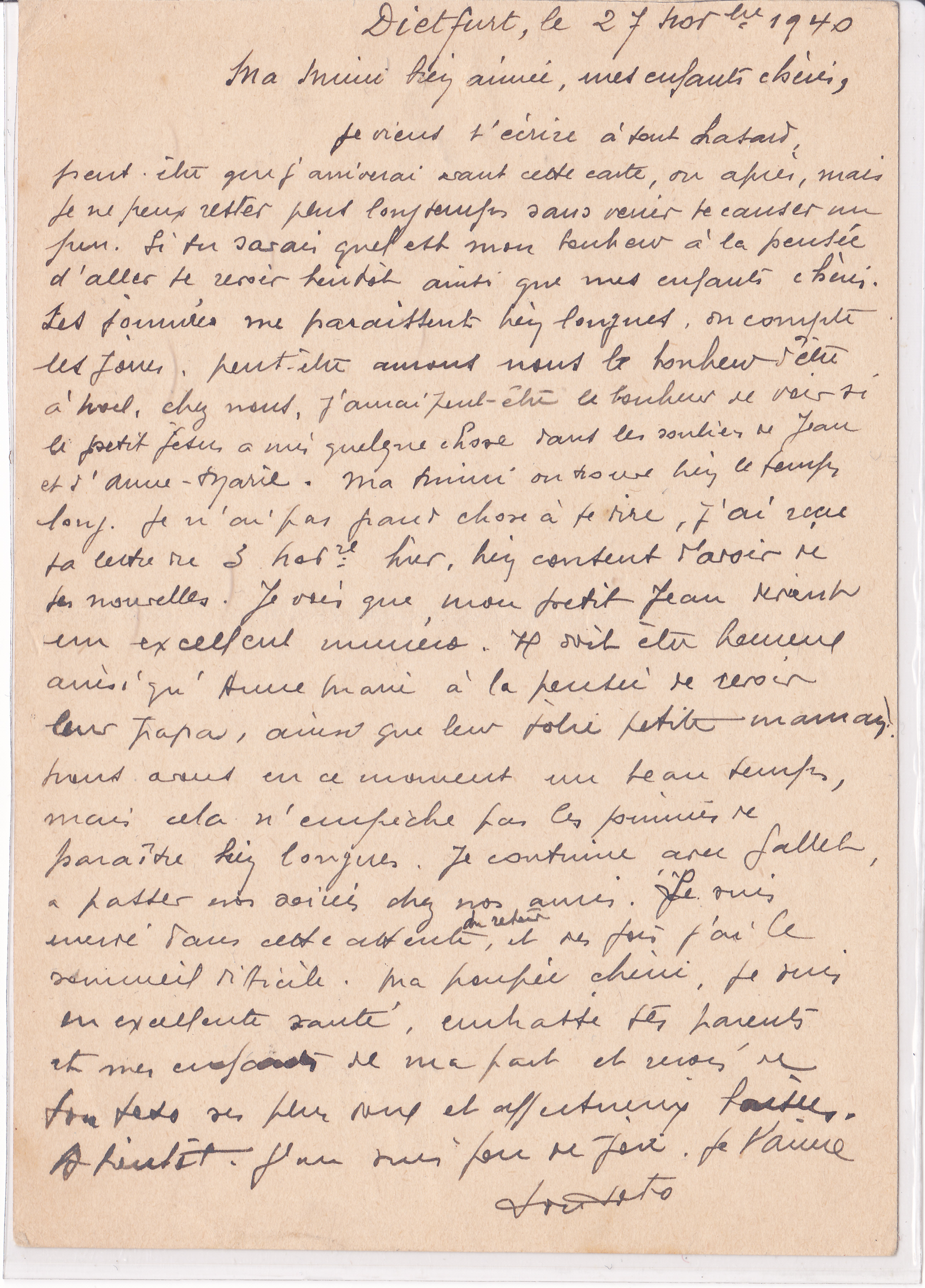 Message d'un interné français de la guerre 39-45