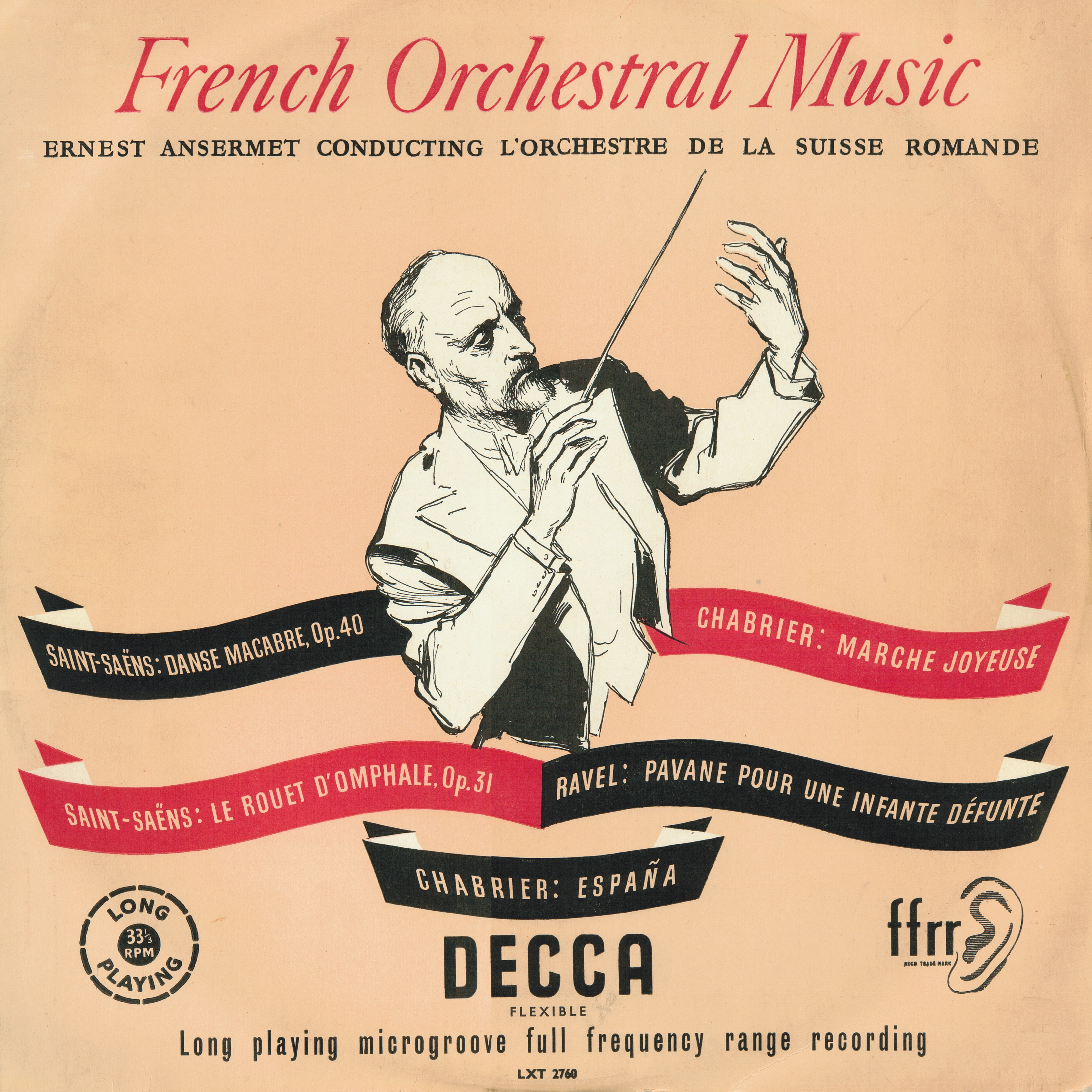 Camille SAINT-SAENS, La Danse macabre, OSR, Ernest ANSERMET, 1952, Recto de la pochette du disque LXT 2760