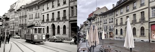 Rue de Lausanne, centre-ville de Fribourg 2/2: Hier/aujourd'hui