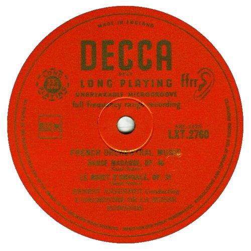 Camille SAINT-SAENS, La Danse macabre, OSR, Ernest ANSERMET, 1952, étiquette recto du disque LXT 2760