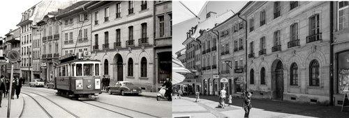 Rue de Lausanne, centre-ville Fribourg 1/2: Hier/aujourd'hui