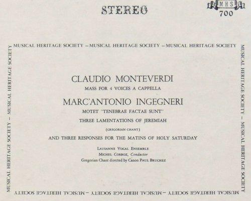 Claudio MONTEVERDI, Messa a 4 voci da capella, Ensemble Vocal de Lausanne, Michel CORBOZ, 28-30.10.1964, MHS 700