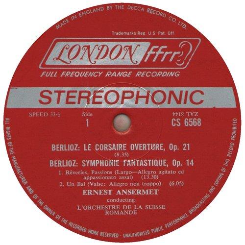 Hector Berlioz, Ernest Ansermet, Ouv. Le Corsaire, Symphonie Fantastique, étiquette A du disque CS 6568
