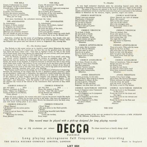 Claude DEBUSSY, Le Martyre de saint Sébastien, OSR, Ernest ANSERMET, 1954, verso insert disque LXT 5024