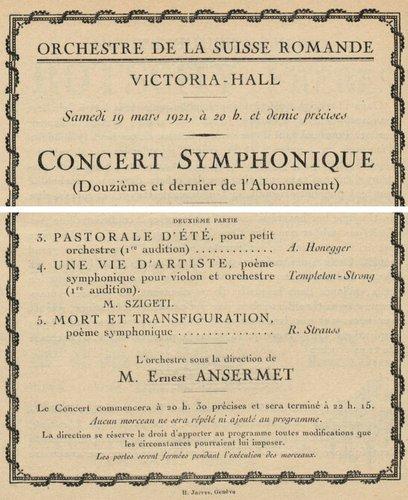 A.Honegger, Pastorale d'été, extrait du programme 1ère audition suisse, OSR, E.Ansermet