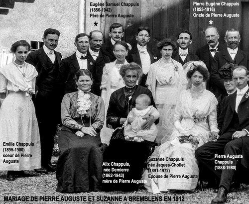 Famille de Pierre Auguste à son mariage avec Suzanne à Bremblens en 1912