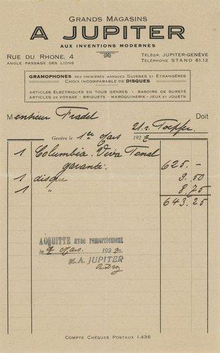 Genève, facture Jupiter de 1927