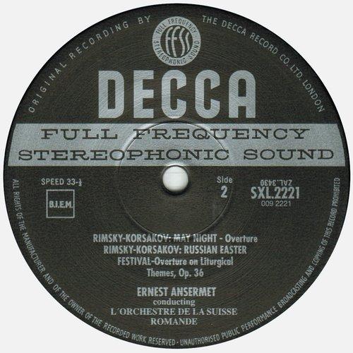 N.RIMSKI-KORSAKOW, Suite du Tsar Saltan, OSR, Ernest ANSERMET, SXL 2221, étiquette verso disque