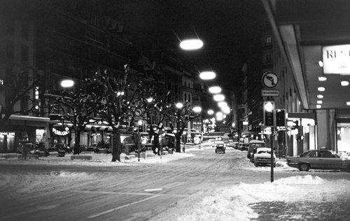 Genève, la Place de Longemalle sous la neige