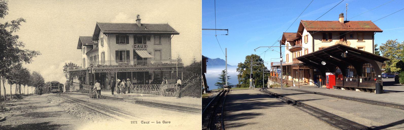 La gare de Caux en 1910 et en 2017