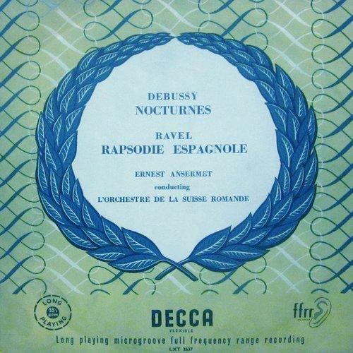 Cl. Debussy, Nocturnes, M. Ravel, Rapsodie espagnole, OSR, Ernest ANSERMET, disque LXT 2637, Recto de la pochette