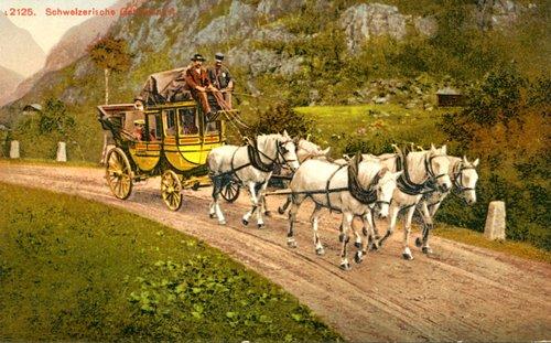 Une diligence postale alpine