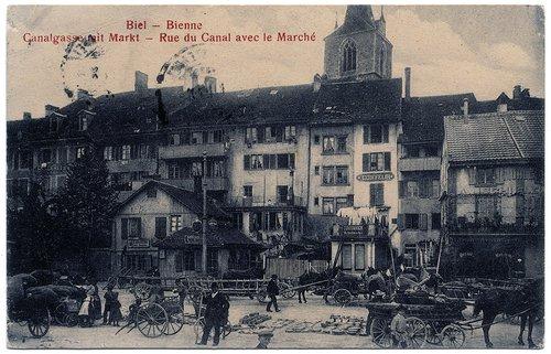 Bienne : Rue du Canal avec le Marché