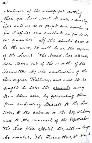 Lettre d'Edward Whymper à Charles Gos - page 2