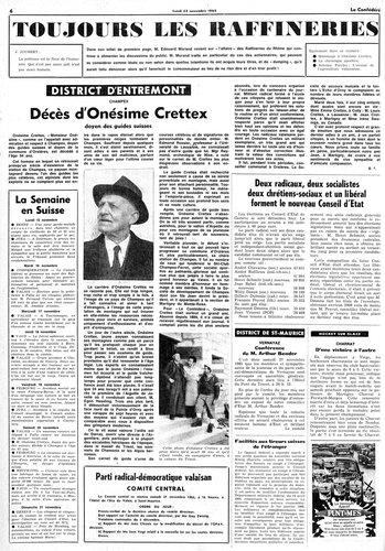 Article au décès d'Onésime dans le Confédéré 22.11.1965