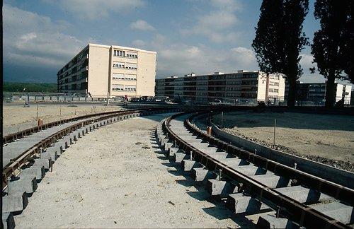 Meyrin construction voie de tram 14