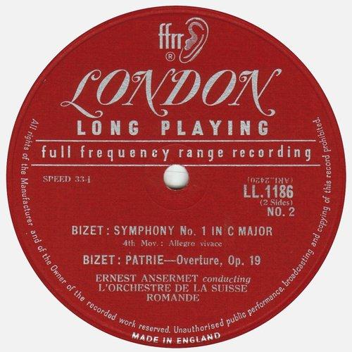 Georges BIZET, Symphonie en ut et Patrie, OSR, Ernest ANSERMET, Étiquette verso du disque Decca LONDON LL 1186
