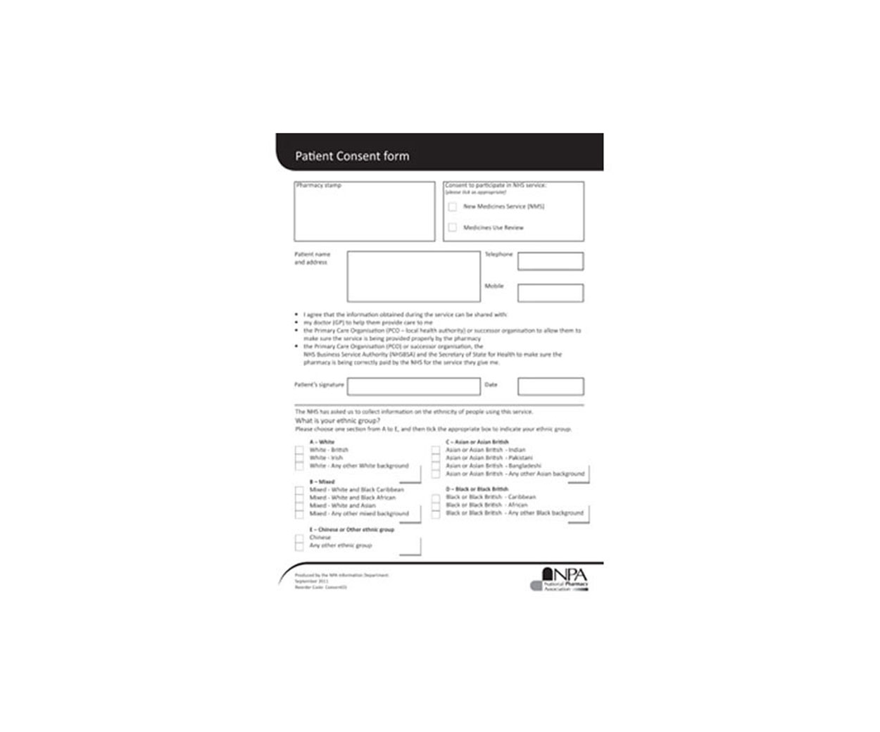 NMS Consent Form Pad – Pack of 100 - OUT OF STOCK