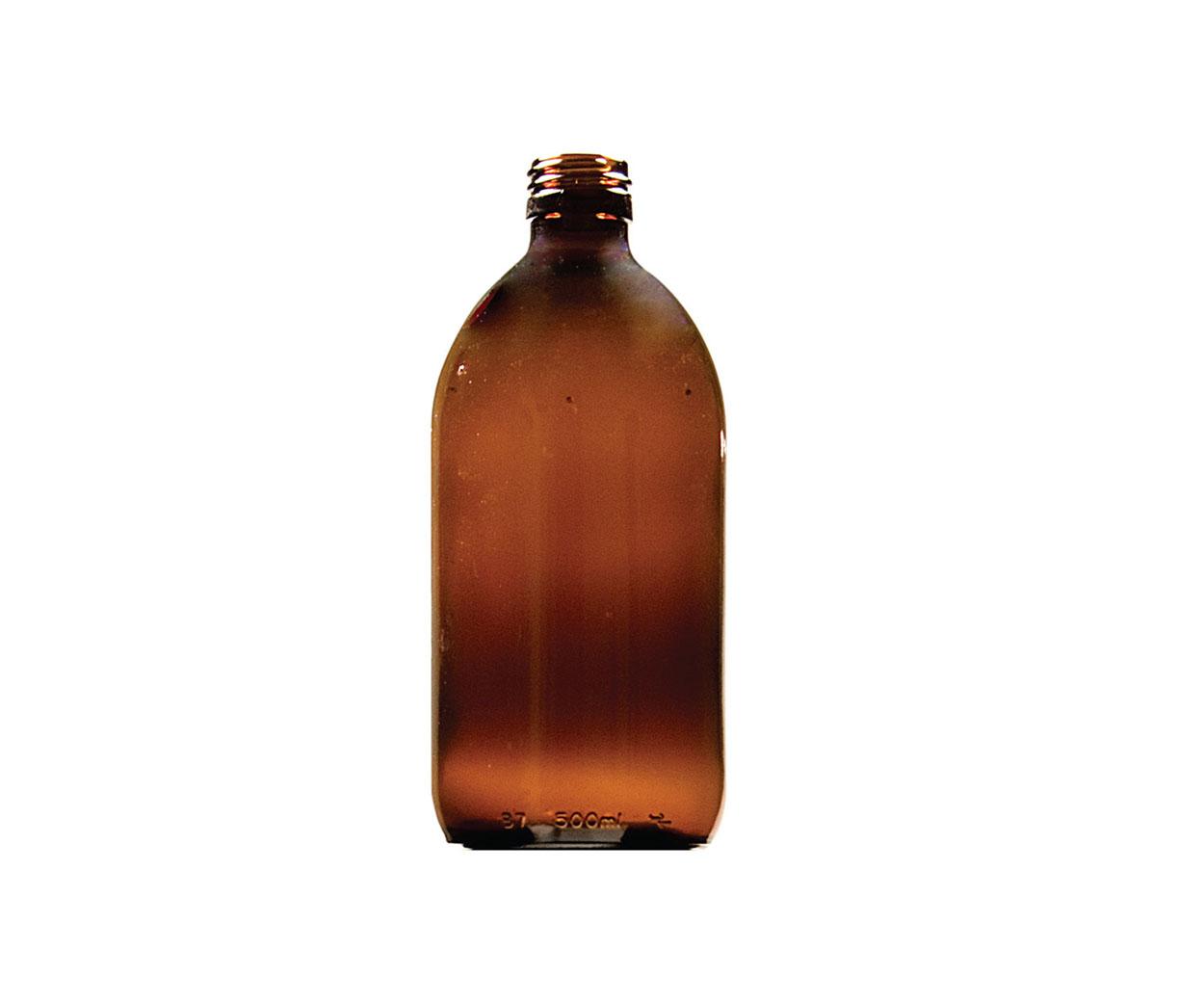 Lightweight 500ml Round Glass Medicine Bottle - Pack of 35