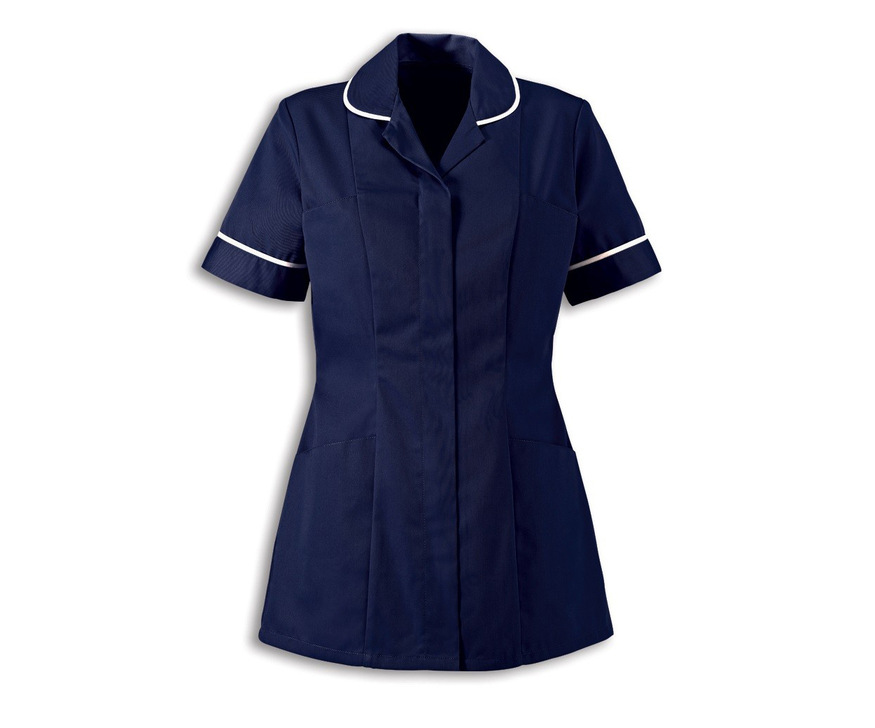 Ladies navy blue healthcare tunic with white contrast piping