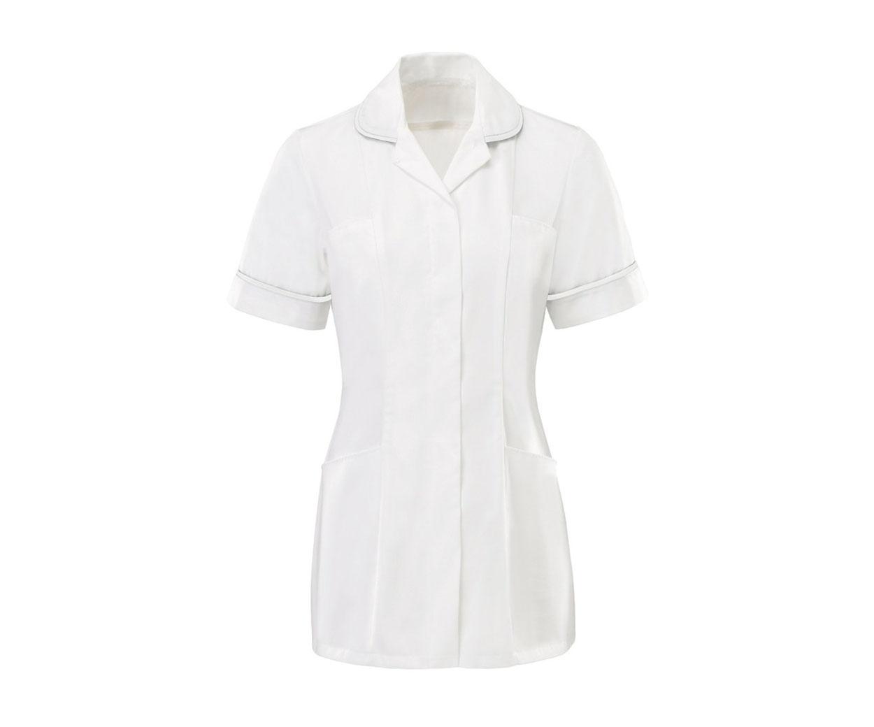 White zip fastening ladies tunic with white piping