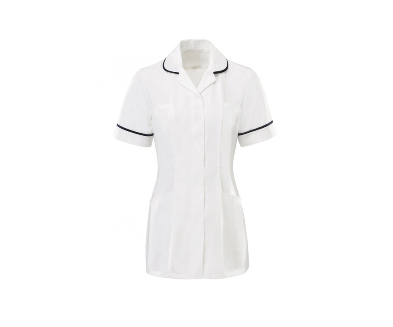 Zip fastening white with navy piping ladies tunic
