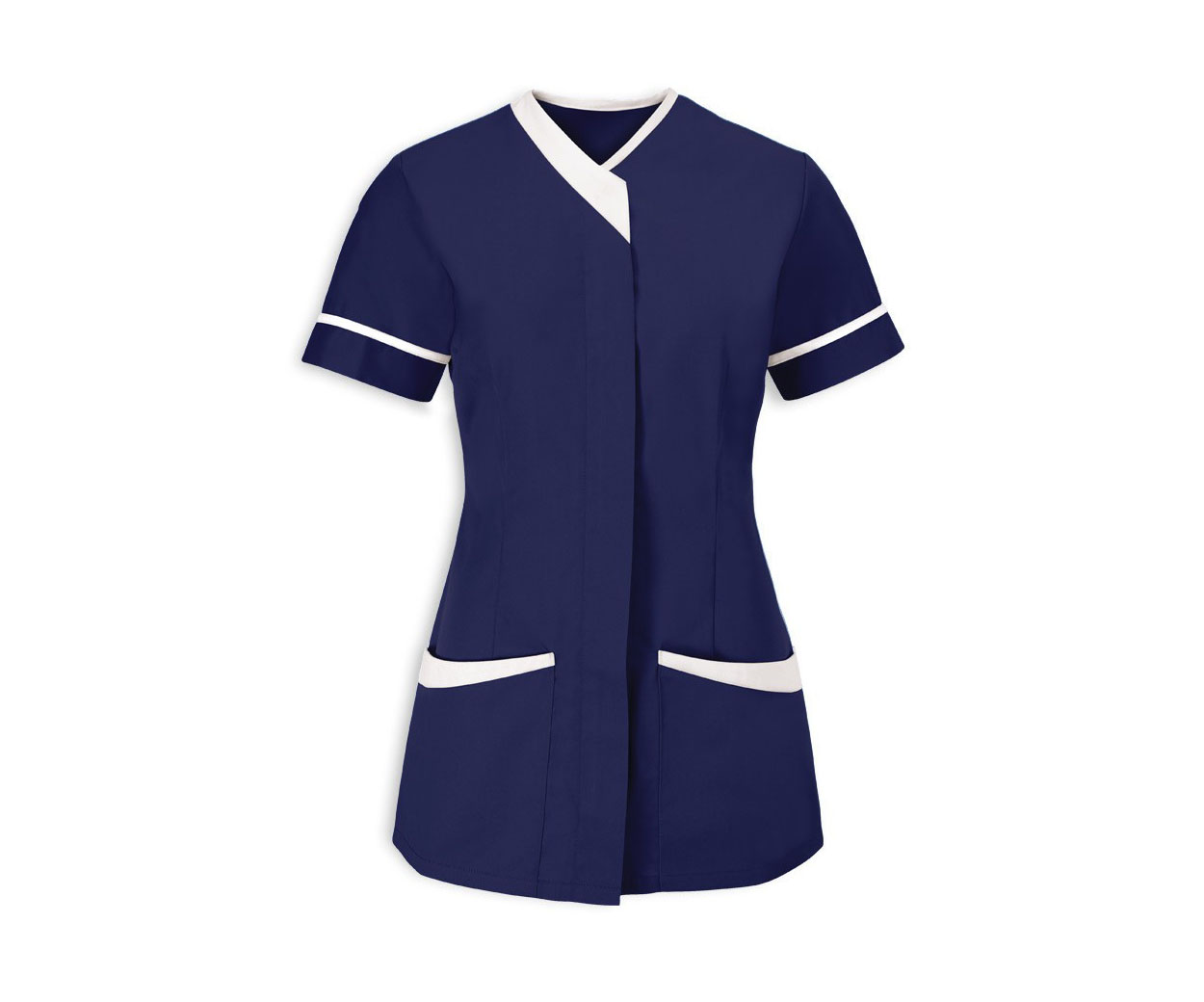 Ladies Navy with White Trim Healthcare Tunic