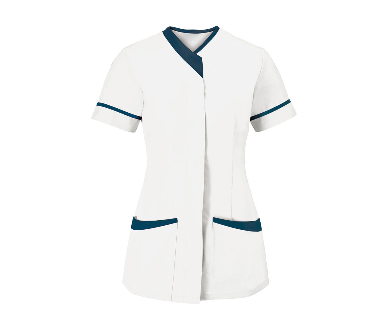 White Zip Fastening Ladies Tunic with Navy Piping