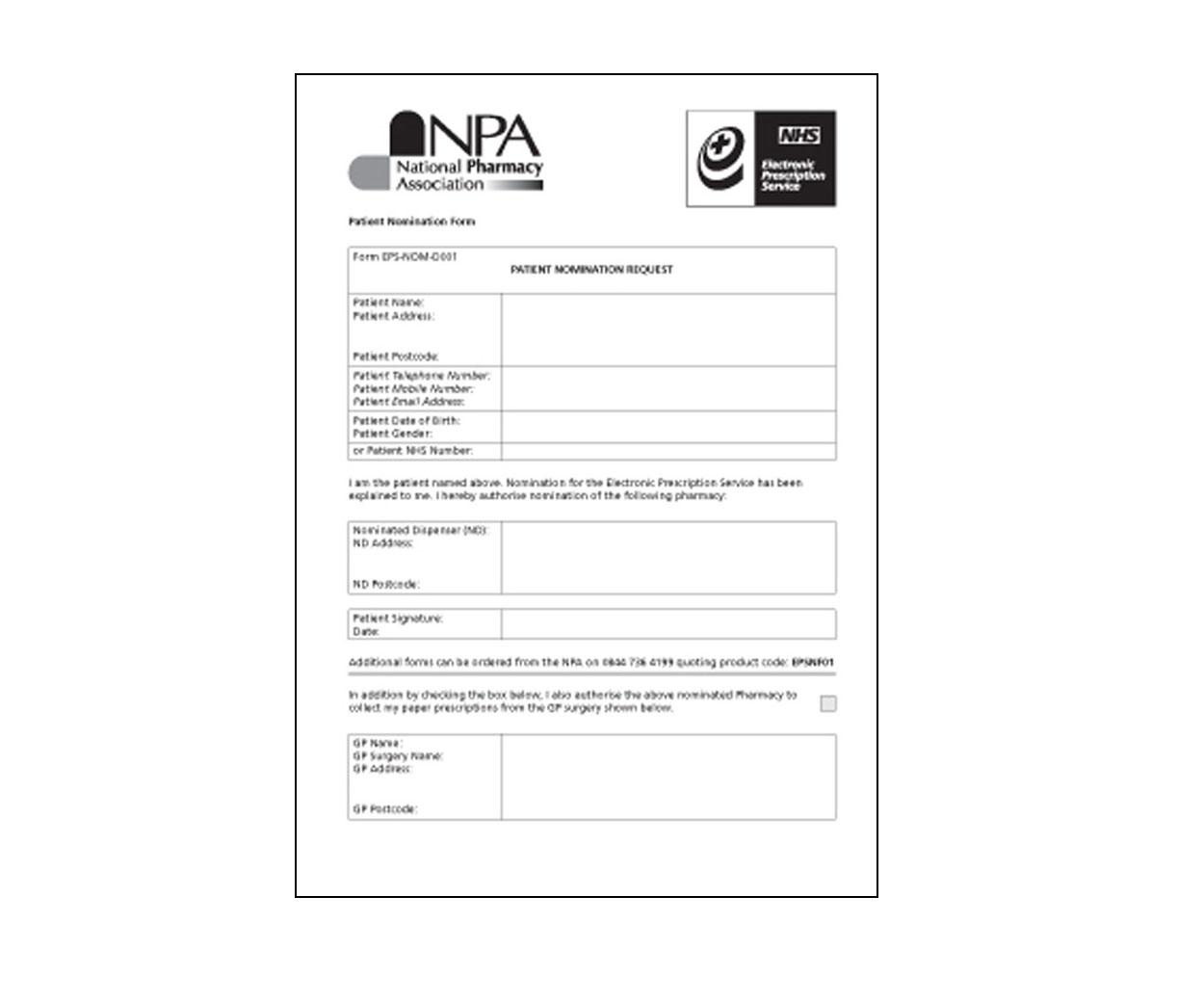 EPS - Electronic Prescription Service Nomination Forms