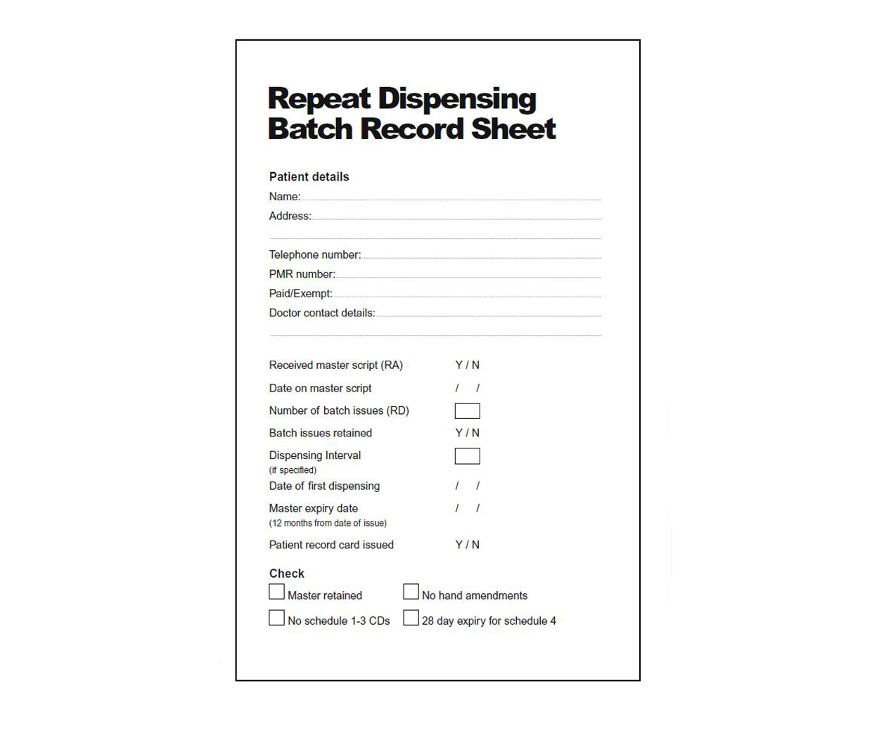 Repeat Dispensing Batch Record Pads