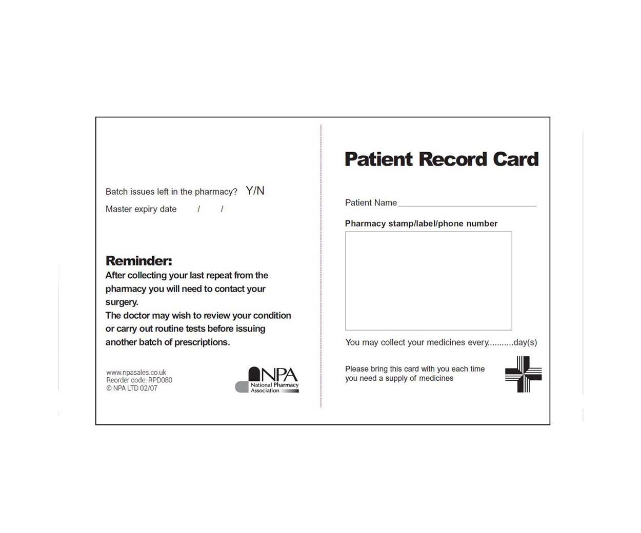 Patient Record Cards & Reminder Cards