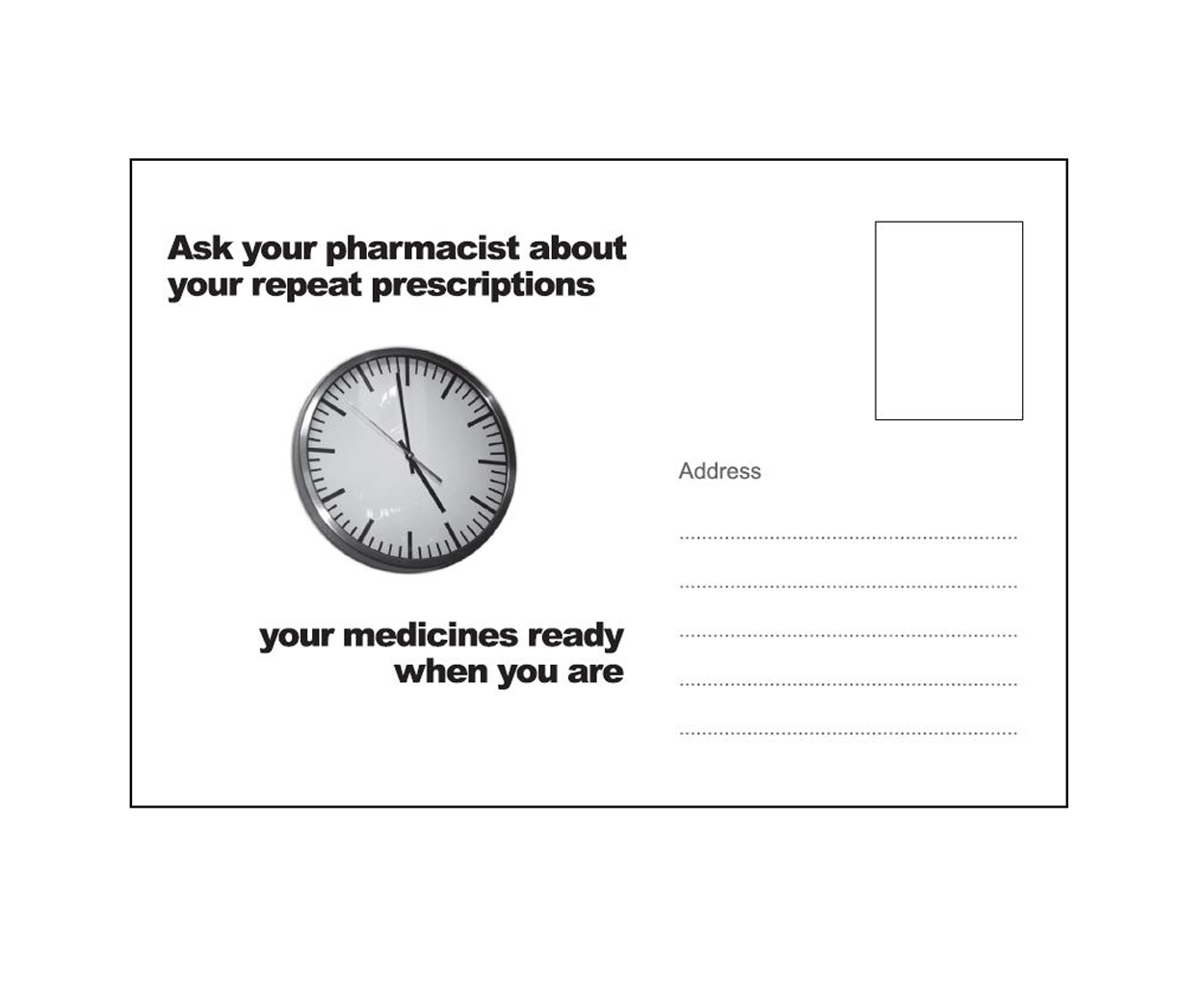 Repeat Prescription Postcards