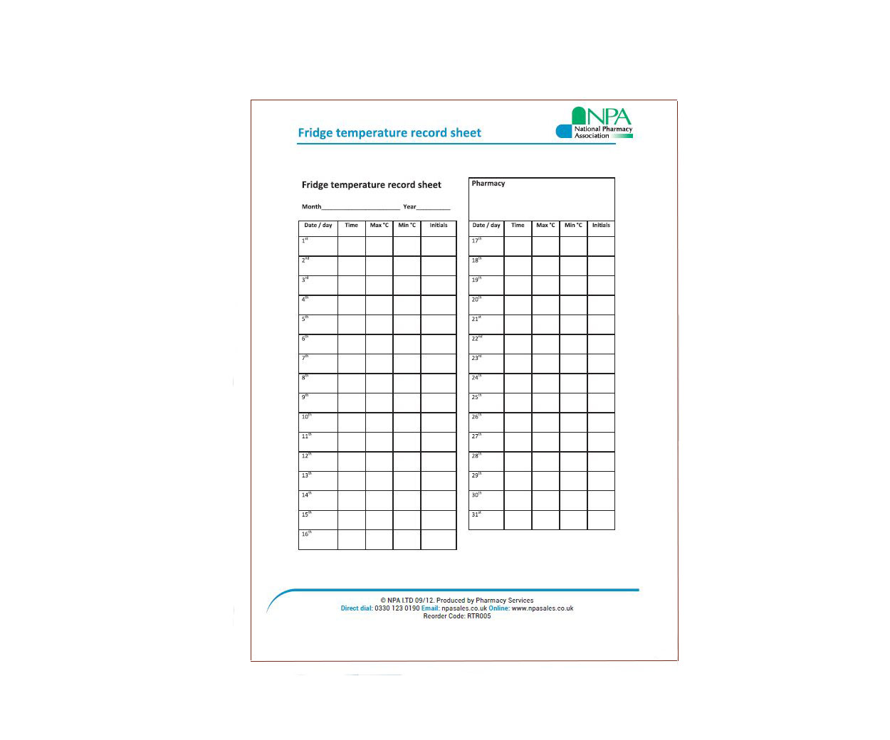 A5 Temperature Record Sheets for Pharmacy Fridge - Pack of 12