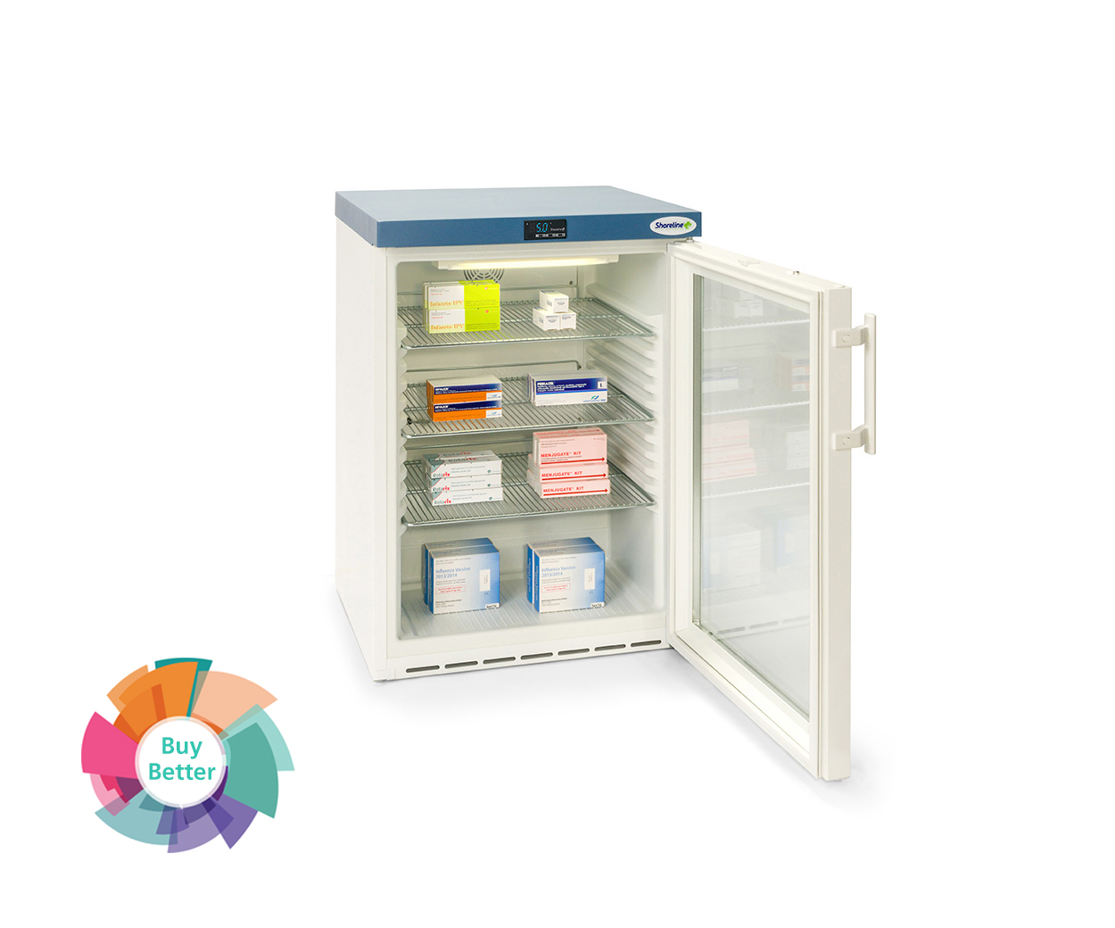 Shoreline SM161G Glass Door Pharmacy Fridge – 141 litre