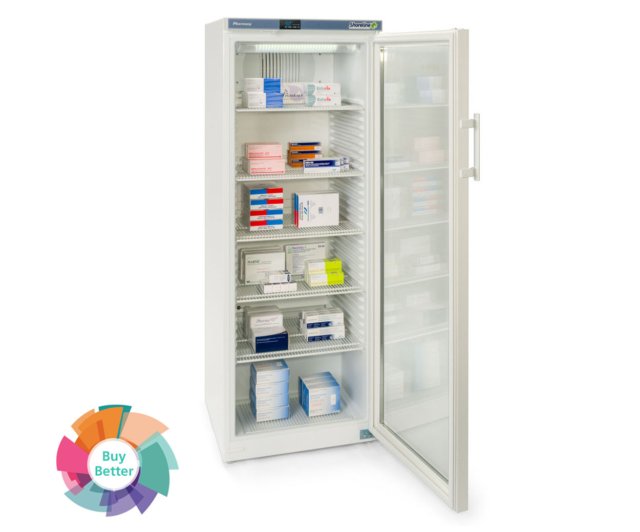 Shoreline SM364G Glass Door Pharmacy Fridge – 335 litre